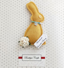 Load image into Gallery viewer, Lavender Wool Bunny - Mustard Yellow With Liberty Print trim