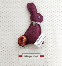 Load image into Gallery viewer, Lavender Wool Bunny - Purple With Liberty Print trim