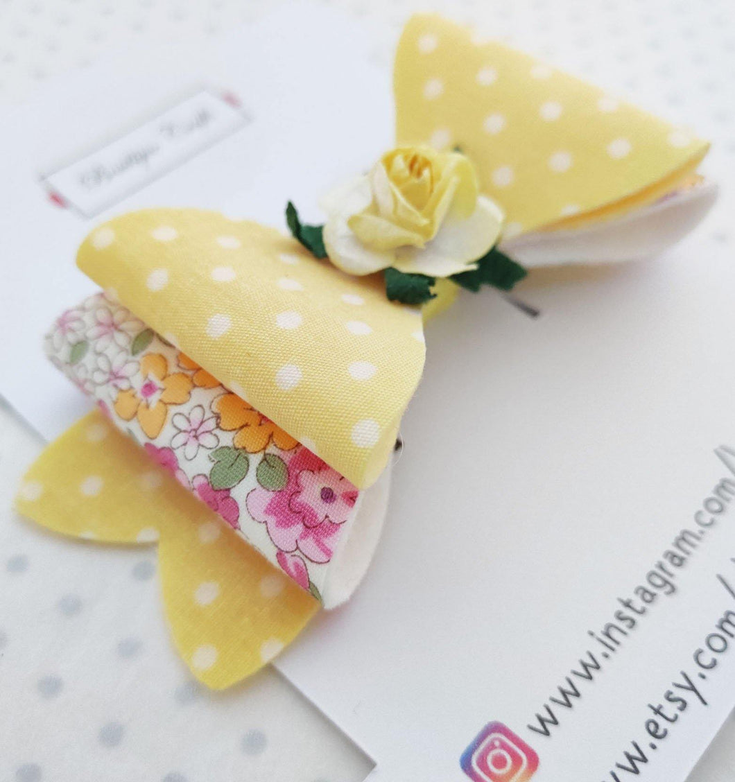 Girls Stacked Hair Bow Clips - Lemon Rose