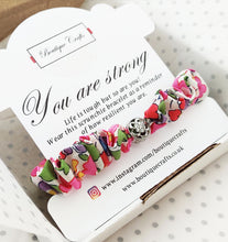 "Load image into Gallery viewer, Skinny Liberty Scrunchie Bracelet - ""You are strong"" positivity keepsake gift"