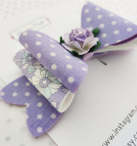 Girls Stacked Hair Bow Clips - Lilac Rose