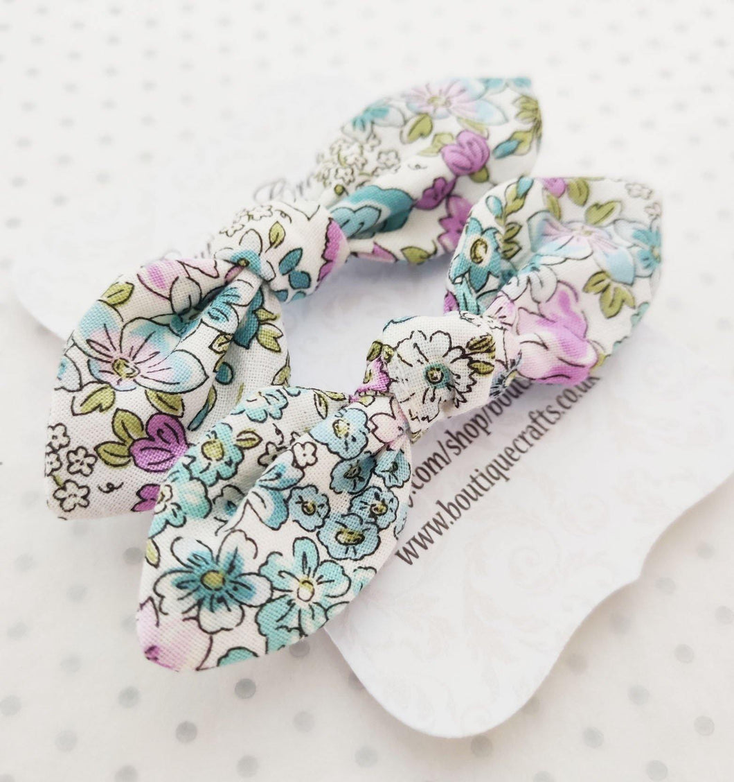 Girls Hair Bow Bobble Ties - Mint Floral Print - BoutiqueCrafts