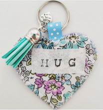 Load image into Gallery viewer, Handmade Pocket Hug heart fabric keyring with tassel - Mint and lilac Floral Print - bag charm - keychain - missing you gift - stay safe gift
