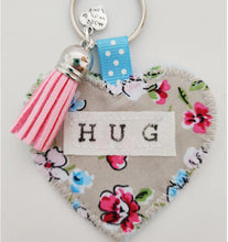 Load image into Gallery viewer, Handmade Pocket Hug heart fabric keyring with tassel - Painterly Floral Print - bag charm - missing you gift - stay safe gift