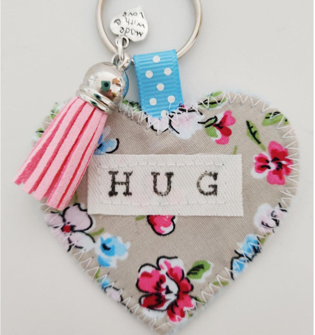 Handmade Pocket Hug heart fabric keyring with tassel - Painterly Floral Print - bag charm - missing you gift - stay safe gift