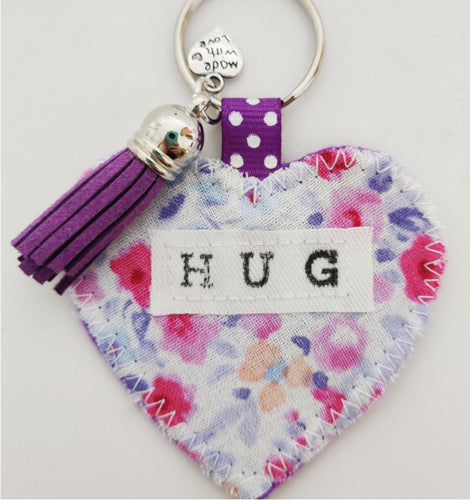 Handmade Pocket Hug heart fabric keyring with tassel - Parma Violets Print - bag charm - keychain - missing you gift - stay safe gift - BoutiqueCrafts
