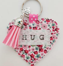 Load image into Gallery viewer, Handmade Pocket Hug heart fabric keyring with tassel - Pink Disty Print - bag charm - keychain - missing you gift - stay safe gift