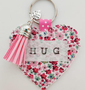 Handmade Pocket Hug heart fabric keyring with tassel - Pink Disty Print - bag charm - keychain - missing you gift - stay safe gift
