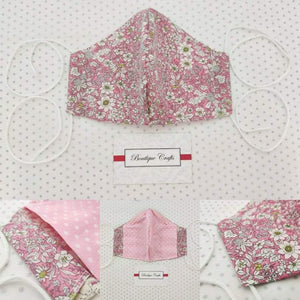 Face Mask - Removable Nose Wire - Filter Pocket - Adjustable Elastic Ties - Pink Vintage Print - Pink Polka Dot Lining