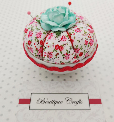 Pink and White Floral Pin Cushion