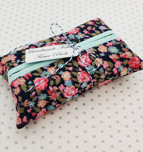 Handmade fabric tissue holder - Navy Floral Print