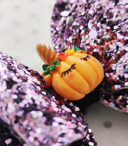 Halloween Girls Stacked Hair Bow Clip - Pumpkin Purple Glitter - BoutiqueCrafts