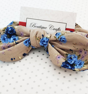 Cotton Hair Bow Scrunchie with small bow tails - Taupe and Blue Floral