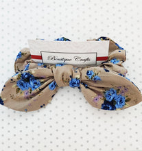 Load image into Gallery viewer, Cotton Hair Bow Scrunchie with small bow tails - Taupe and Blue Floral