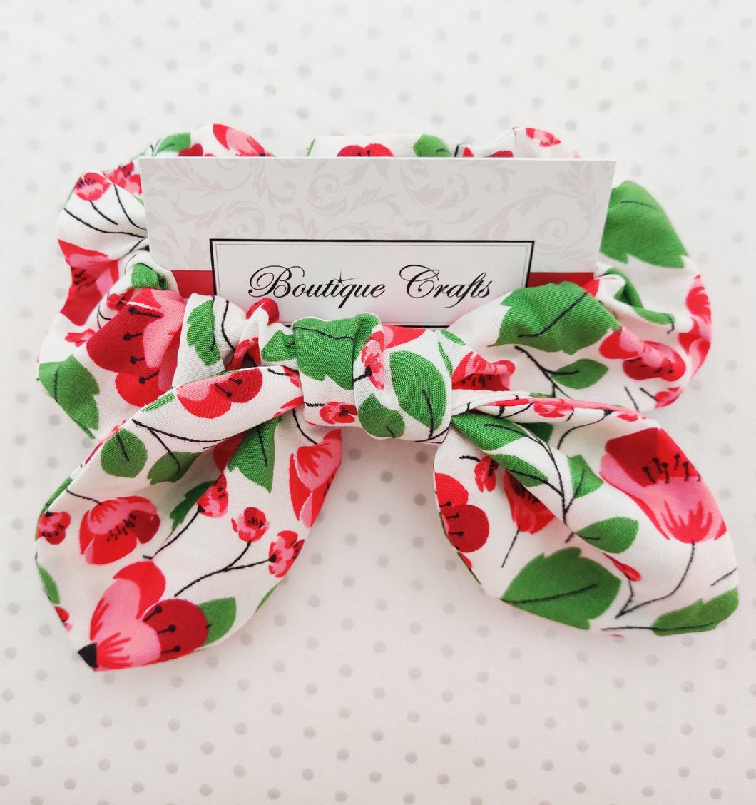 Poppy Print Hair Bow Scrunchie