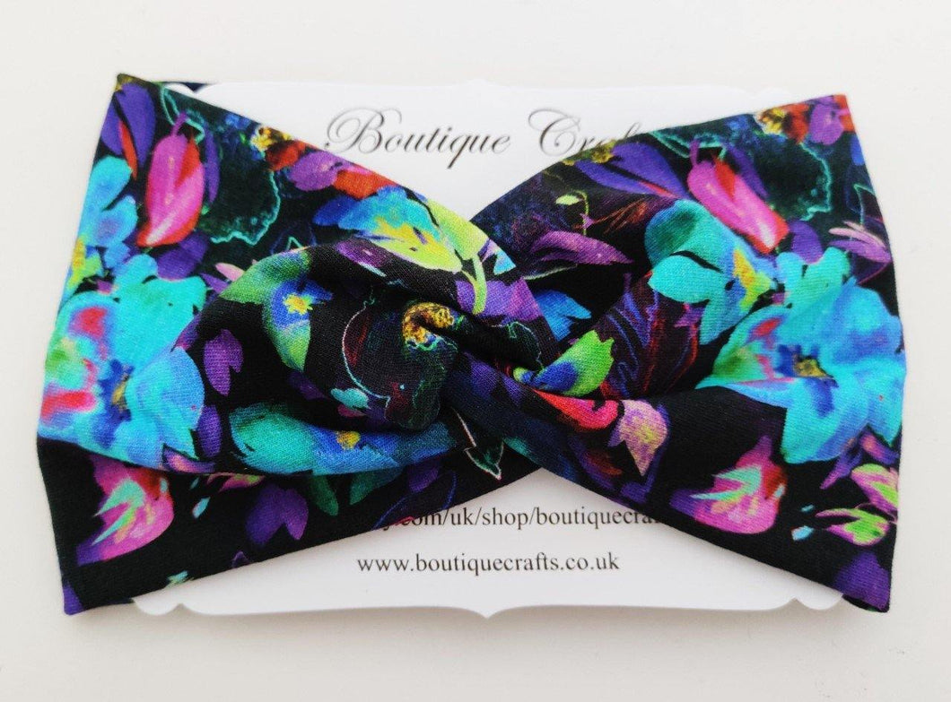 Twist detail stretchy headband - Electric Brights - BoutiqueCrafts