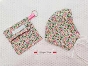Face Mask Bag - Face Mask Pouch - Face Mask Bag with Keyring - Mask Holder - 100% Cotton - Ditsy Print