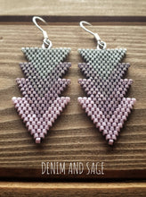 Load image into Gallery viewer, purple and grey arrow beaded earrings. Indigenous handmade.