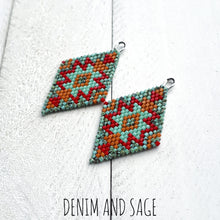 Load image into Gallery viewer, Turquoise, red and burnt orange beaded earrings. Indigenous handmade.