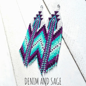 Turquoise and purple beaded earrings. Indigenous handmade.