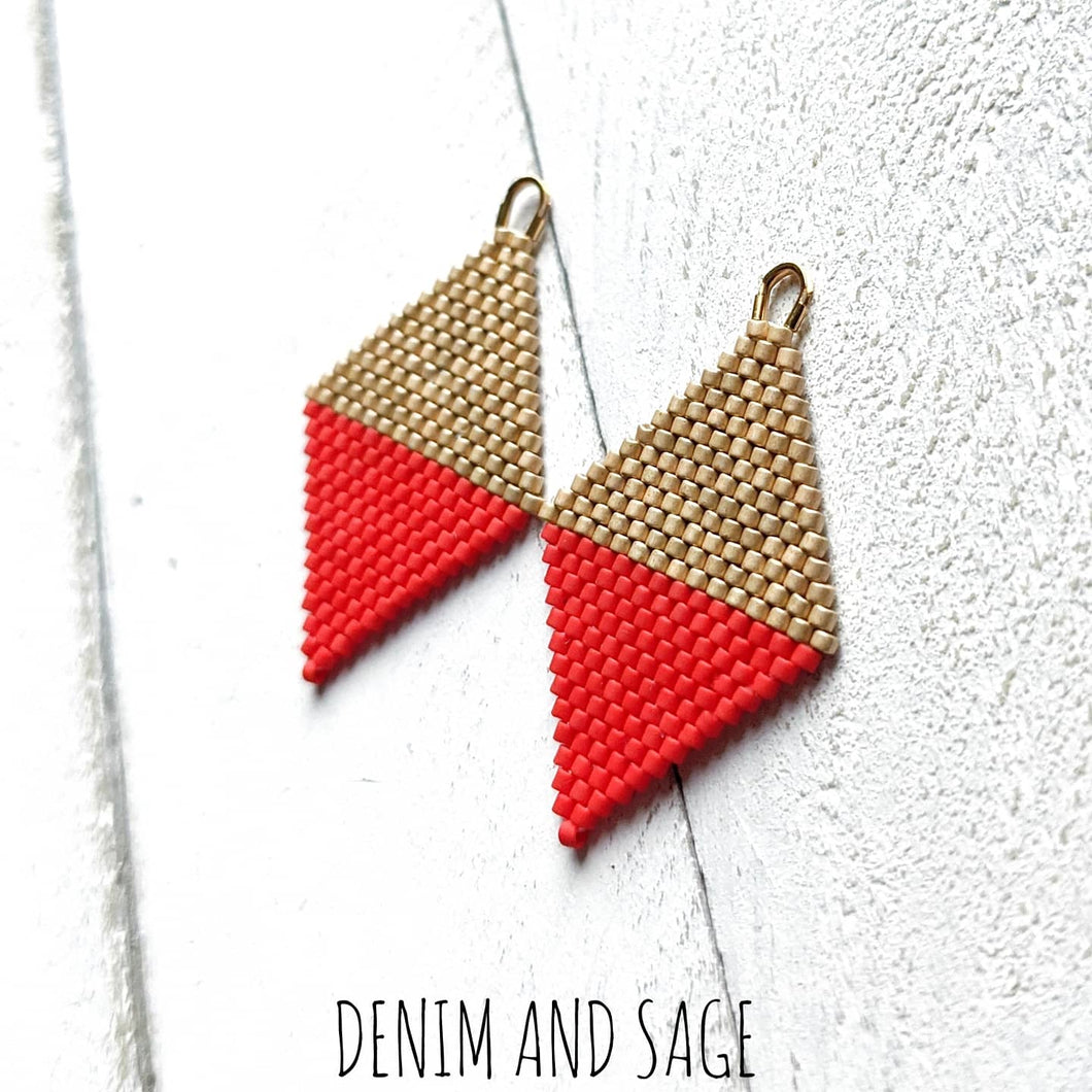 Matte Gold and red earrings. Indigenous handmade.