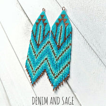 Load image into Gallery viewer, Copper and turquoise ombre beaded earrings. Indigenous handmade.