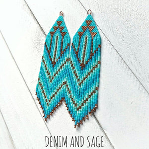 Copper and turquoise ombre beaded earrings. Indigenous handmade.