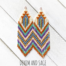 Load image into Gallery viewer, Burnt orange, purple, green and cream beaded fringe earrings. Indigenous handmade.