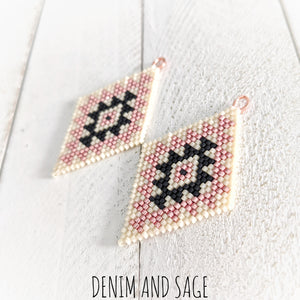 Cream, matte black and rose gold double diamond beaded earrings. Indigenous handmade.
