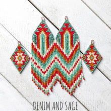 Load image into Gallery viewer, Turquoise, cream, burnt orange and red beaded delica earrings. Indigenous Handmade
