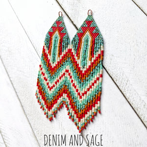 Turquoise, cream, burnt orange and red beaded earrings. Indigenous handmade.