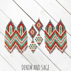 Turquoise, cream, burnt orange and red flower beaded delica earrings. Indigenous Handmade