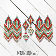 Load image into Gallery viewer, Turquoise, cream, burnt orange and red beaded earrings. Indigenous handmade.