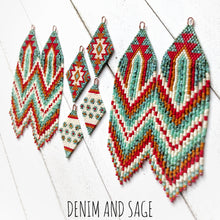 Load image into Gallery viewer, Turquoise, cream, burnt orange and red flower beaded delica earrings. Indigenous Handmade