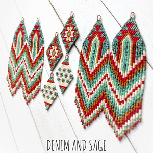 Turquoise, cream, burnt orange and red beaded delica earrings. Indigenous Handmade