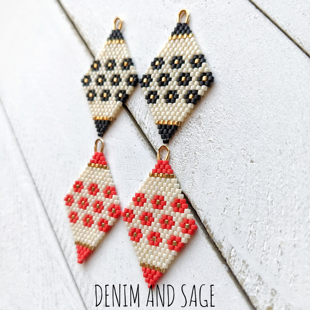 Black or red flower beaded delica earrings. Indigenous Handmade