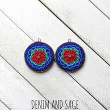 Load image into Gallery viewer, Flower applique beaded earrings. Indigenous handmade.