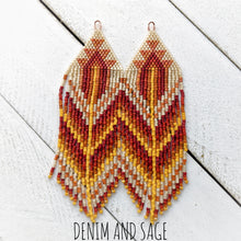 Load image into Gallery viewer, Rusty orange beaded earrings. Indigenous handmade.