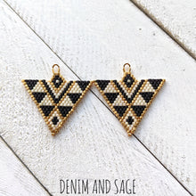 Load image into Gallery viewer, Cream, matte black and gold triangle beaded earrings. Indigenous handmade.