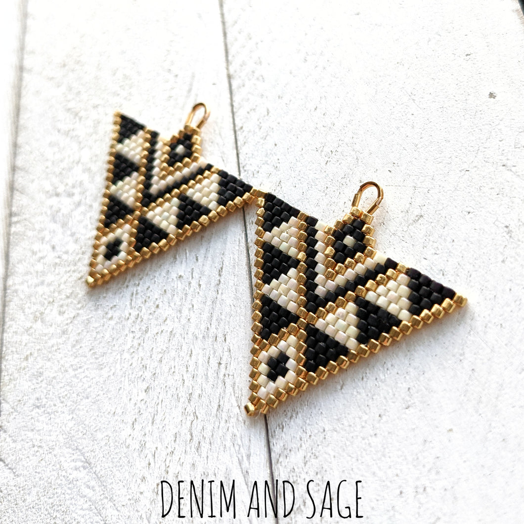 Cream, matte black and gold triangle beaded earrings. Indigenous handmade.