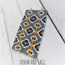 Load image into Gallery viewer, Grey, mustard, and navy square beaded earrings. Indigenous handmade.