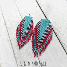 Load image into Gallery viewer, Turquoise, red, black and white beaded earrings. Indigenous handmade.