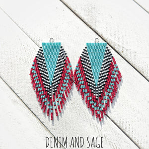 Turquoise, red, black and white beaded earrings. Indigenous handmade.