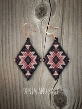 Load image into Gallery viewer, Rose gold and matte black delica beaded earrings. Indigenous handmade