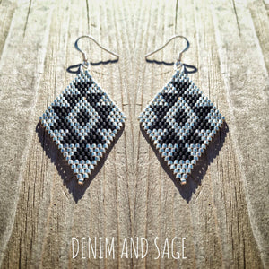 Silver and black beaded earrings. Indigenous handmade.