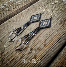 Load image into Gallery viewer, Black and gunmetal leaf delica earrings. Indigenous handmade.