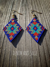 Load image into Gallery viewer, Blue, gold and red beaded delica earrings. Indigenous Handmade