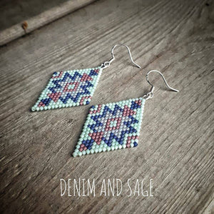 Mint green and navy beaded earrings. Indigenous handmade
