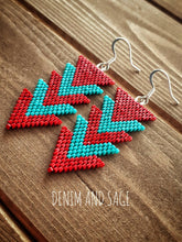 Load image into Gallery viewer, Red and turquoise arrow earrings. Indigenous handmade.