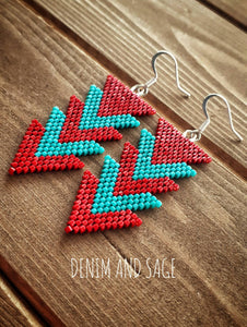 Red and turquoise arrow earrings. Indigenous handmade.